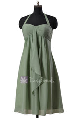 Pretty halter elegant chiffon bridesmaid dress sweetheart short bridal party dresses(bm892s)
