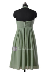 Pretty Halter Chiffon Bridesmaid Dress Sweetheart Short Bridal Party Dress(BM892S)
