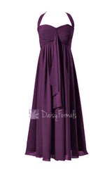 Byzantium chiffon party dress tea length halter bridesmaid dress empire formal party gown(bm892t)