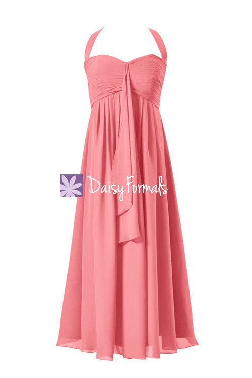 Flowing empire chiffon formal evening gown tea length party dress light coral wears (bm892t)