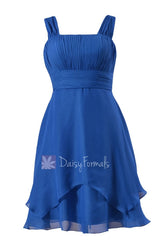 Royal blue chiffon discount bridesmaid dress cobalt blue knee length formal dresses w/straps(bm912)