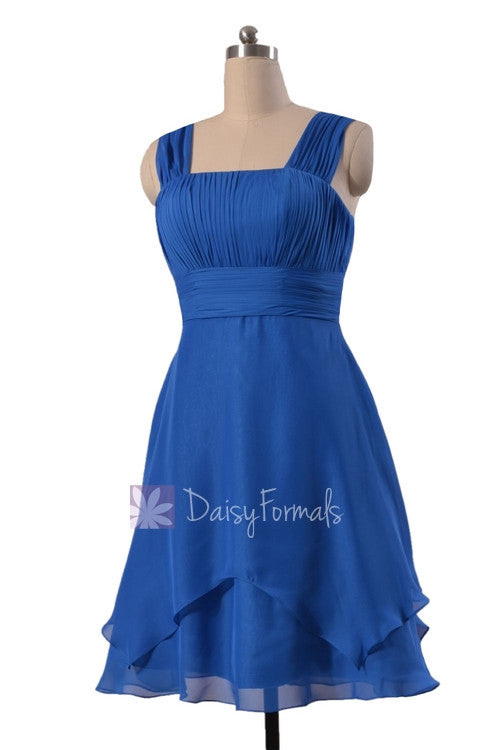 Royal blue chiffon discount bridesmaid dress cobalt blue knee length formal dress w/straps(bm912)