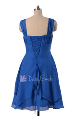 Royal Blue Chiffon Bridesmaid Dress Cobalt Blue Knee Length Formal Dress W/Straps(BM912)