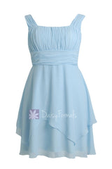 Plus size sky blue chiffon party dress knee length bridesmaid dresses w/straps(bm912)