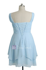 Plus Size SKy Blue Chiffon Party Dress Knee Length Bridesmaid Dress W/Straps(BM912)