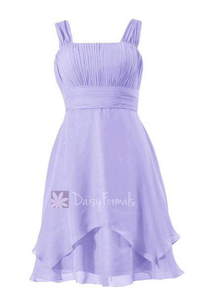 Affordable Lavender Chiffon Bridesmaid Dress Short Formal