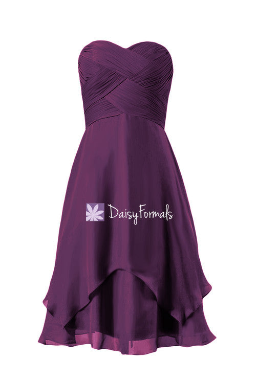 Dark plum party dress chiffon dress knee length byzantium chiffon bridesmaids dress(bm912a)
