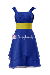 Sapphire & olive color online bridesmaid dress custom color party dresses (bm912 two-color)