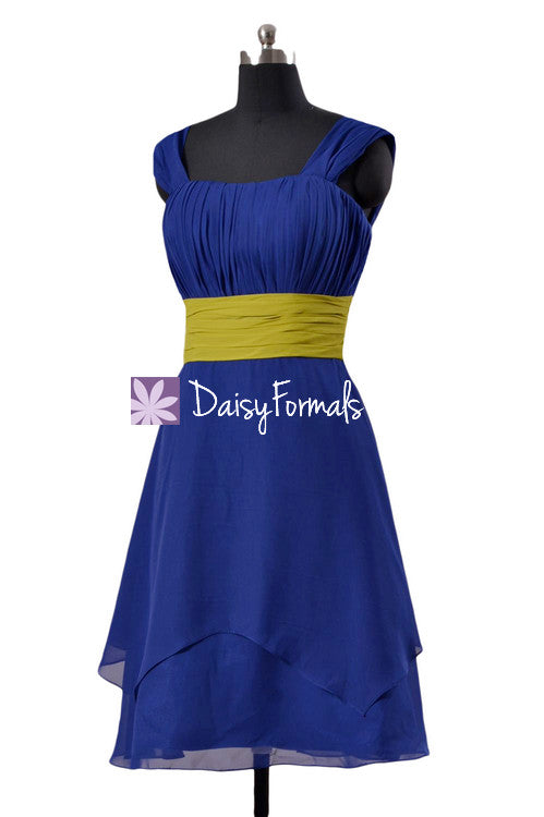 Sapphire & olive color online bridesmaid dress custom color party dress (bm912 two-color)