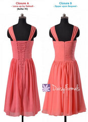 Vintage rose pink chiffon party dress flowing dusty rose chiffon bridesmaids dresses (bm913)