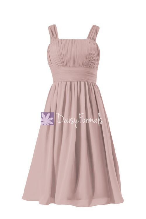 Vintage rose pink chiffon party dress flowing dusty rose chiffon bridesmaids dress (bm913)