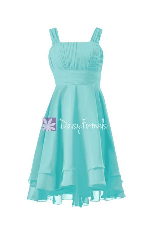 Short robin egg blue bridesmaids dress high low aqua blue party dress (bm914)