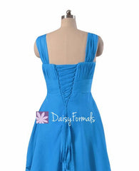 Short robin egg blue bridesmaids dress high low aqua blue party dresses (bm914)