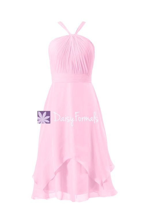 Light pink party dress pink chiffon knee length elegant dress sweet party dress (bm916)