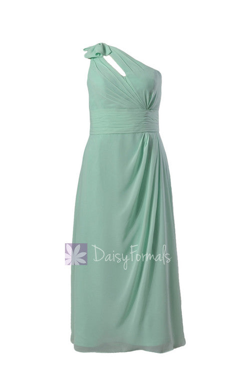 Long plus size one-shoulder bridal party dress online mint chiffon formal dress w/ keyhole bodice(bm918)