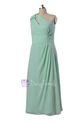 Long plus size one-shoulder bridal party dress online mint chiffon formal dresses w/ keyhole bodice(bm918)