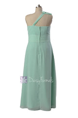 Long Plus Size One-Shoulder Bridal Party Dress Mint Chiffon Formal Dress w/ Keyhole Bodice(BM918)