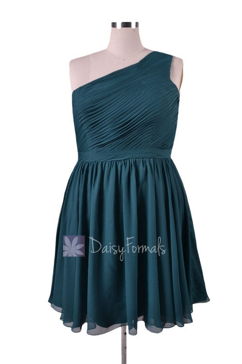 In stock,ready to ship - plus size short rich peacock chiffon bridesmaid dress(bm10822s) - (rich peacock, sz24)
