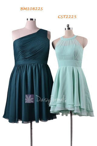 Mint Bridesmaid Dress,Mix & Match Chiffon Bridesmaid Dress-BM10822S(Knee Length),CST1004 (High-Low)