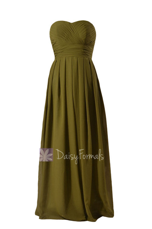 Long strapless dark olive elegant chiffon bridesmaid dress clover sweetheart bridal party dress(bm975)