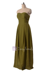 Long strapless dark olive elegant chiffon bridesmaid dress clover sweetheart bridal party dresses(bm975)