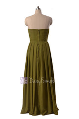 Long Strapless Dark Olive Chiffon Bridesmaid Dress Clover Sweetheart Bridal Party Dress(BM975)
