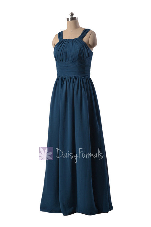 Gracious full length affordable bridesmaid dress peacock blue chiffon dress w/straps(bm9823)