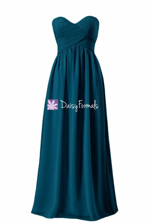 Dark teal elegant chiffon party dress long sweetheart teal formal dress evening dress (bm9823st)