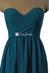 Dark teal elegant chiffon party dress long sweetheart teal formal dress evening dresses (bm9823st)