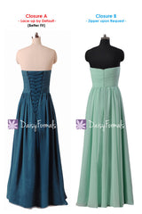 Dark Teal Chiffon Party Dress Long Sweetheart Teal Formal Dress Evening Dress (BM9823ST)