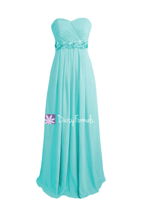 Long green blue chiffon formal dress long beach wedding party dress (bm98480)