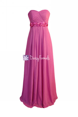 Chic Princess Pink Chiffon Formal Dress Long Pink Bridesmaids Dress (BM98480)