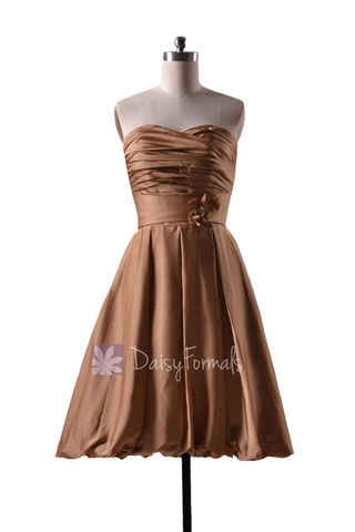 In stock,Ready to Ship - Short Pleated Sweetheart Gold Color Bridesmaid Dress(BMAV9081) - (Vegas Gold)