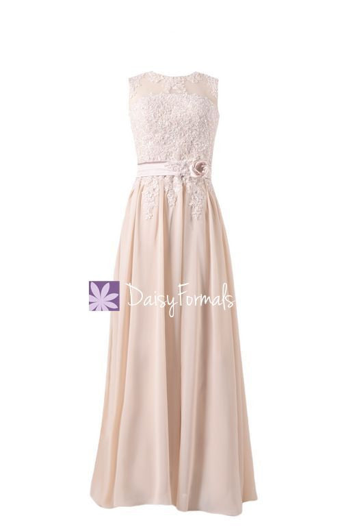 Ice Apricot Lace Party Dress Embroidery Formal Dress Long Lace Applique Evening Dress (BMDK122)