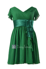 Vintage green chiffon bridesmaid dress short formal dress w/flutter sleeves(bmdk123)