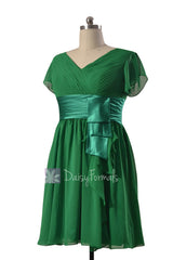 Vintage green chiffon bridesmaid dress short formal dresses w/flutter sleeves(bmdk123)