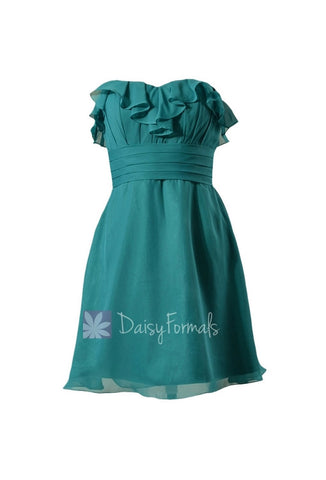 In stock,Ready to Ship - Mini Length Sweetheart Pine Green Chiffon Bridesmaid Dress (BM1549SD)- (#43 Pine Green)