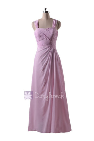 In stock,Ready to Ship - Floor Length Pink Chiffon Bridesmaid Dress W/ Straps (BM732L) - (#20 Ice Pink)