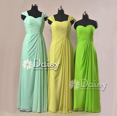 Floor Length Chiffon Bridesmaid Dress W/ Straps Mint Formal Dress(BM732L)