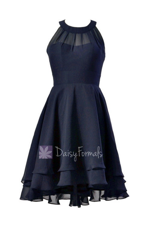 Navy Blue Chiffon Formal Dress Short High Low Bridesmaid Dress Willusion Necklinecst2225
