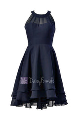 Navy blue chiffon formal dress short high low cheap bridesmaid dress w/illusion neckline(cst2225)