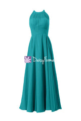 Long chiffon affordable bridesmaid dress cyan formal dress w/illusion neckline(cst2225l)