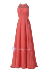 Floor length chiffon bridesmaid dress coral formal dresses w/illusion neckline(cst2225l)