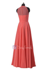 Long chiffon affordable bridesmaid dress cyan formal dresses w/illusion neckline(cst2225l)