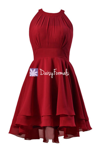 Burgundy Chiffon Party Dress Sexy Modern Evening Party dress Cocktail Dress (CST2225)