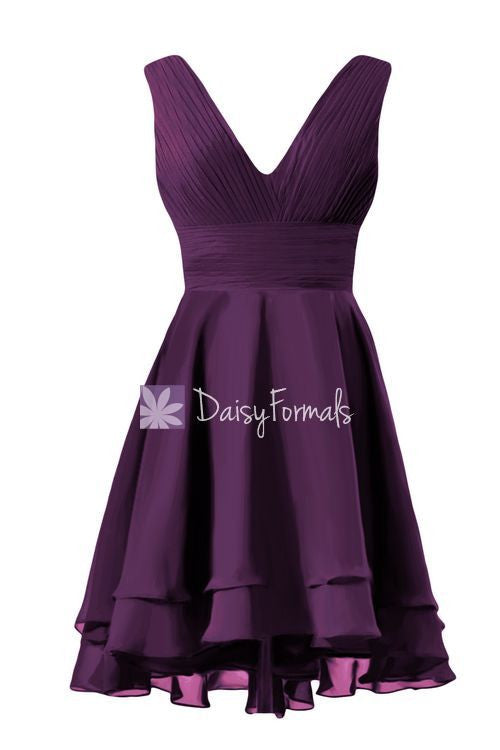 Eggplant Chiffon Party Dress Short V Neckline Bridesmaids Dress (CST2227)