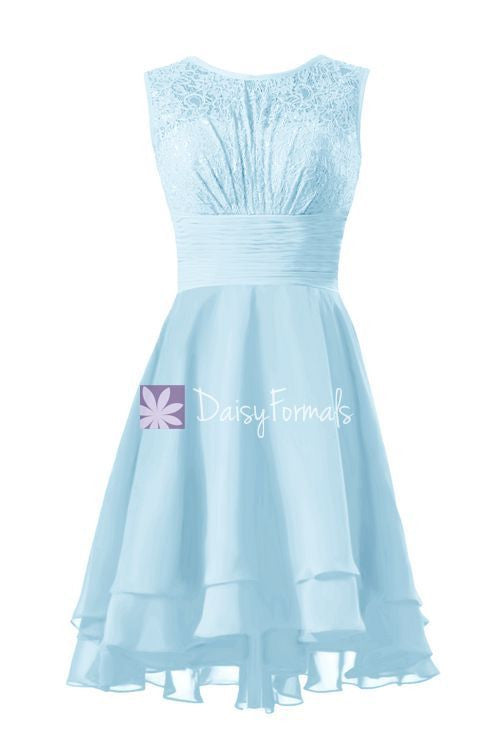 Light blue lace party dress high low lace prom dress vintage formal dress (cst2230)