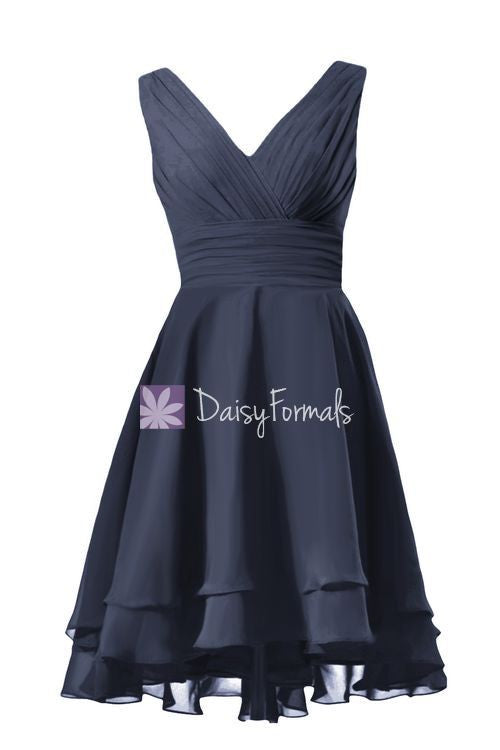 Voluminous skirt party dress high low navy formal dress elegant prom dress (cst2231)