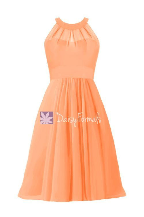 Orange halter party dress short clementine formal dress chiffon bridesmaids dress (cst2232)