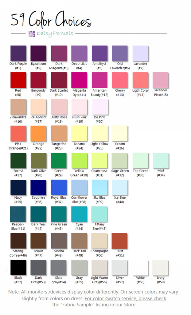 Color chart - please choose your favorite color for your day
